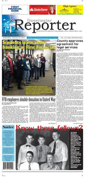 Sweetwater Reporter (Sweetwater, Tex.), Vol. 114, No. 324, Ed. 1 Wednesday, January 30, 2013