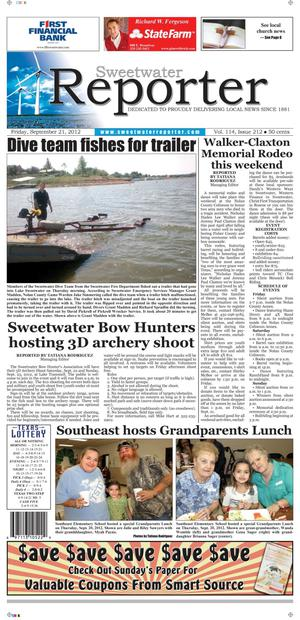 Primary view of object titled 'Sweetwater Reporter (Sweetwater, Tex.), Vol. 114, No. 212, Ed. 1 Friday, September 21, 2012'.