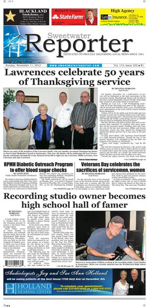 Sweetwater Reporter (Sweetwater, Tex.), Vol. 114, No. 255, Ed. 1 Sunday, November 11, 2012