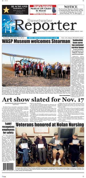 Sweetwater Reporter (Sweetwater, Tex.), Vol. 114, No. 257, Ed. 1 Tuesday, November 13, 2012