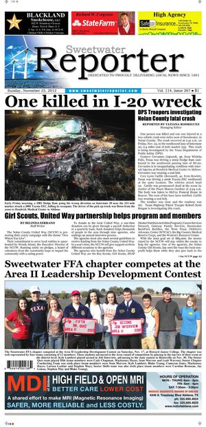 Sweetwater Reporter (Sweetwater, Tex.), Vol. 114, No. 267, Ed. 1 Sunday, November 25, 2012