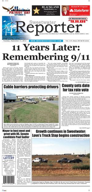 Sweetwater Reporter (Sweetwater, Tex.), Vol. 114, No. 203, Ed. 1 Tuesday, September 11, 2012