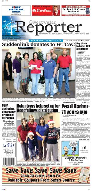 Sweetwater Reporter (Sweetwater, Tex.), Vol. 114, No. 278, Ed. 1 Friday, December 7, 2012