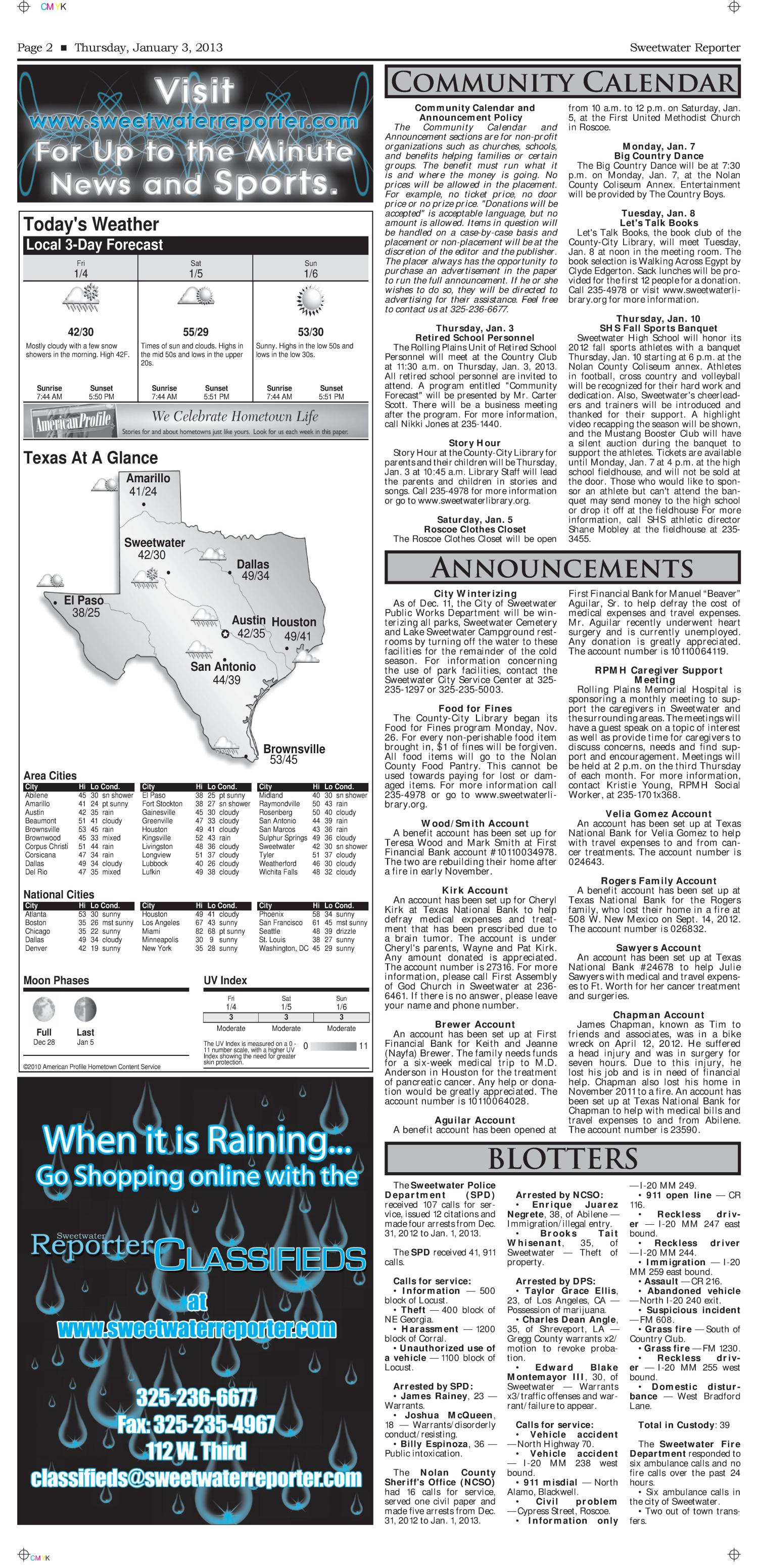 Sweetwater Reporter (Sweetwater, Tex.), Vol. 114, No. 301, Ed. 1 Thursday, January 3, 2013                                                                                                      [Sequence #]: 2 of 10