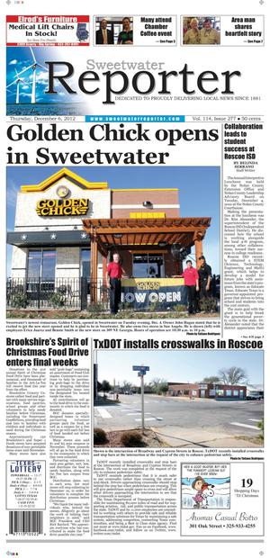 Primary view of object titled 'Sweetwater Reporter (Sweetwater, Tex.), Vol. 114, No. 277, Ed. 1 Thursday, December 6, 2012'.