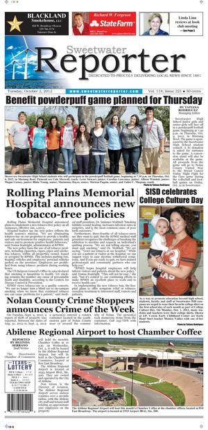 Sweetwater Reporter (Sweetwater, Tex.), Vol. 114, No. 221, Ed. 1 Tuesday, October 2, 2012