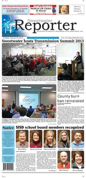 Sweetwater Reporter (Sweetwater, Tex.), Vol. 114, No. 323, Ed. 1 Tuesday, January 29, 2013