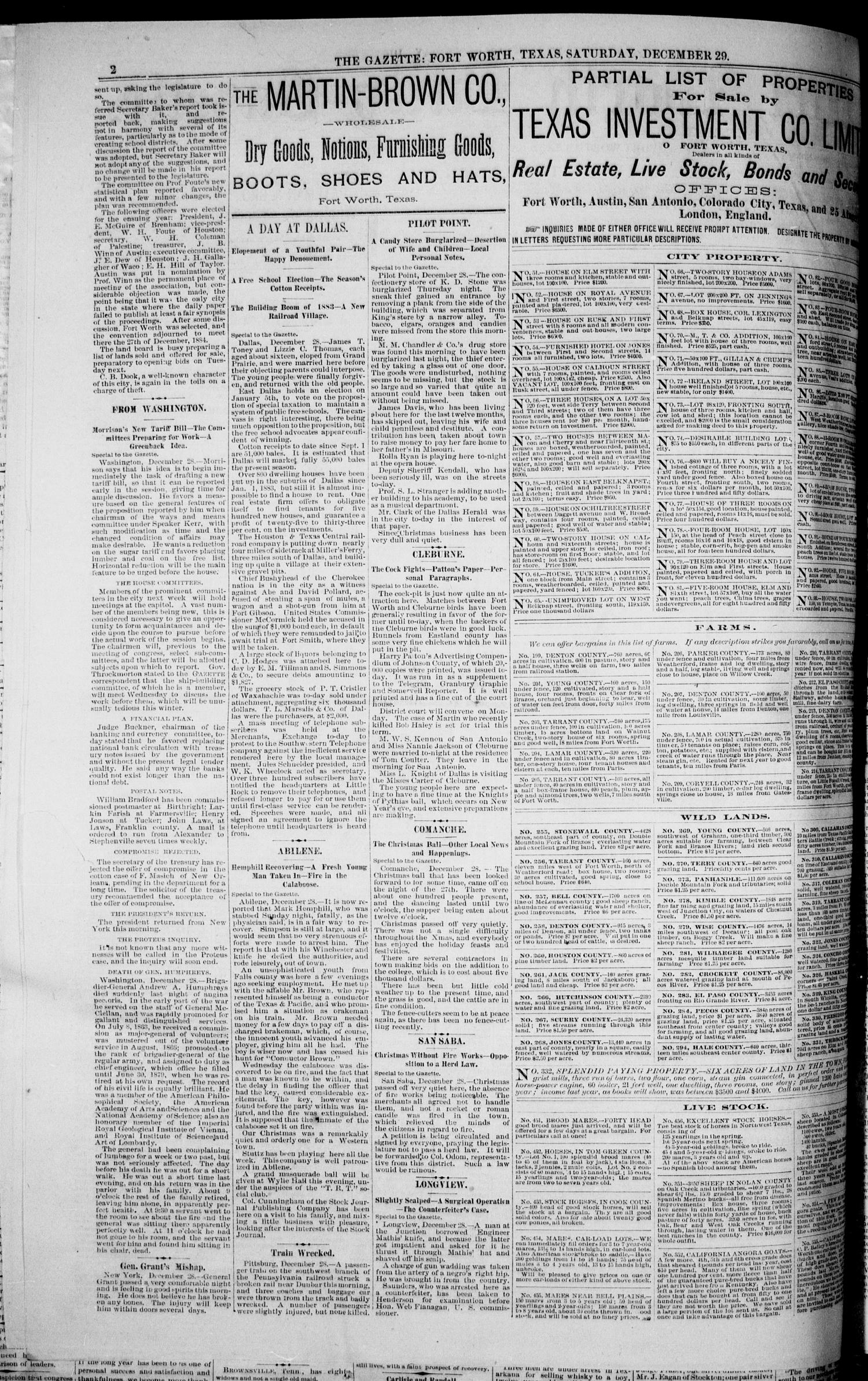Fort Worth Daily Gazette. (Fort Worth, Tex.), Vol. 7, No. 359, Ed. 1, Saturday, December 29, 1883                                                                                                      [Sequence #]: 2 of 8