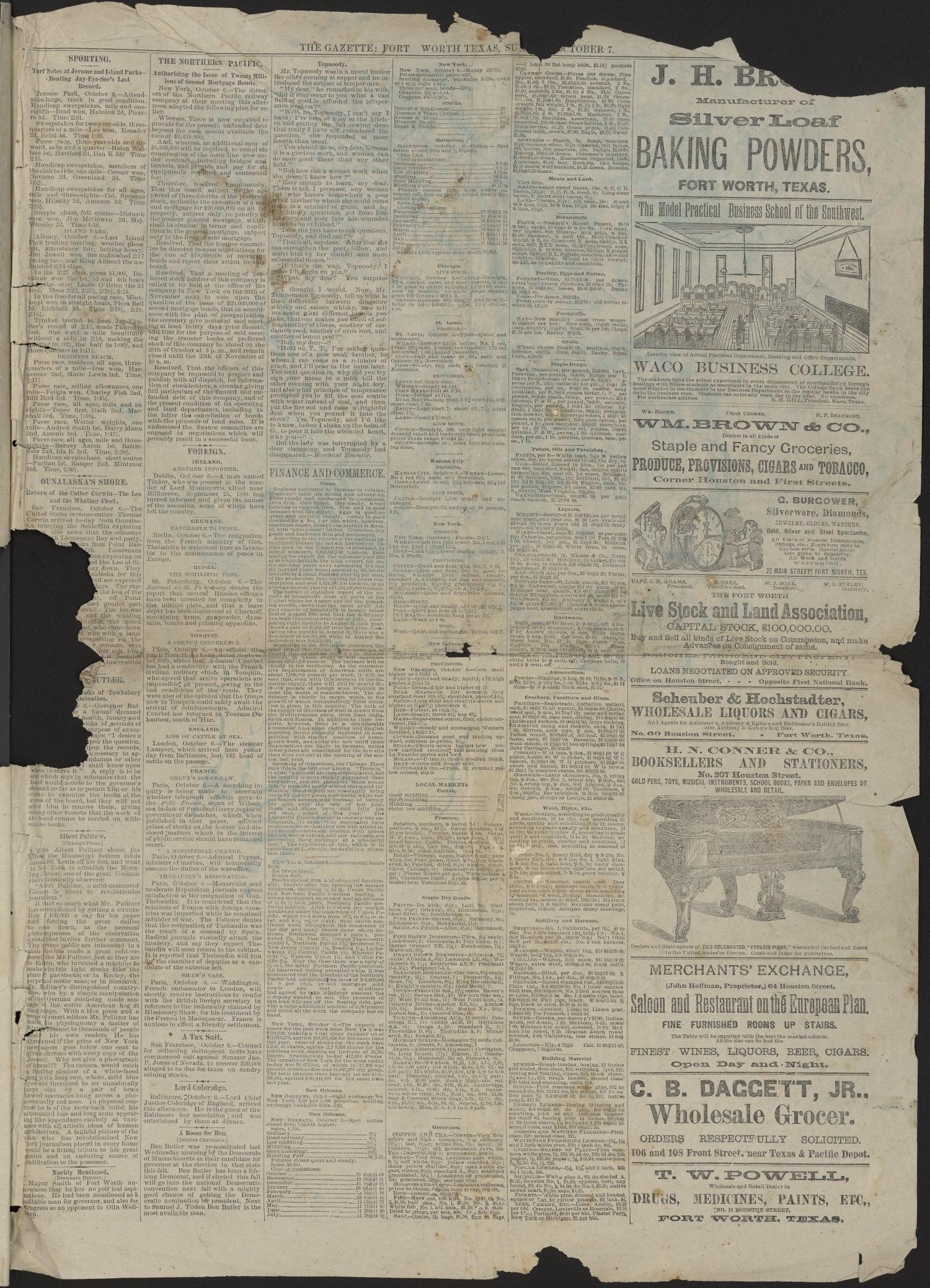 Fort Worth Daily Gazette  (Fort Worth, Tex ), Vol  7, No