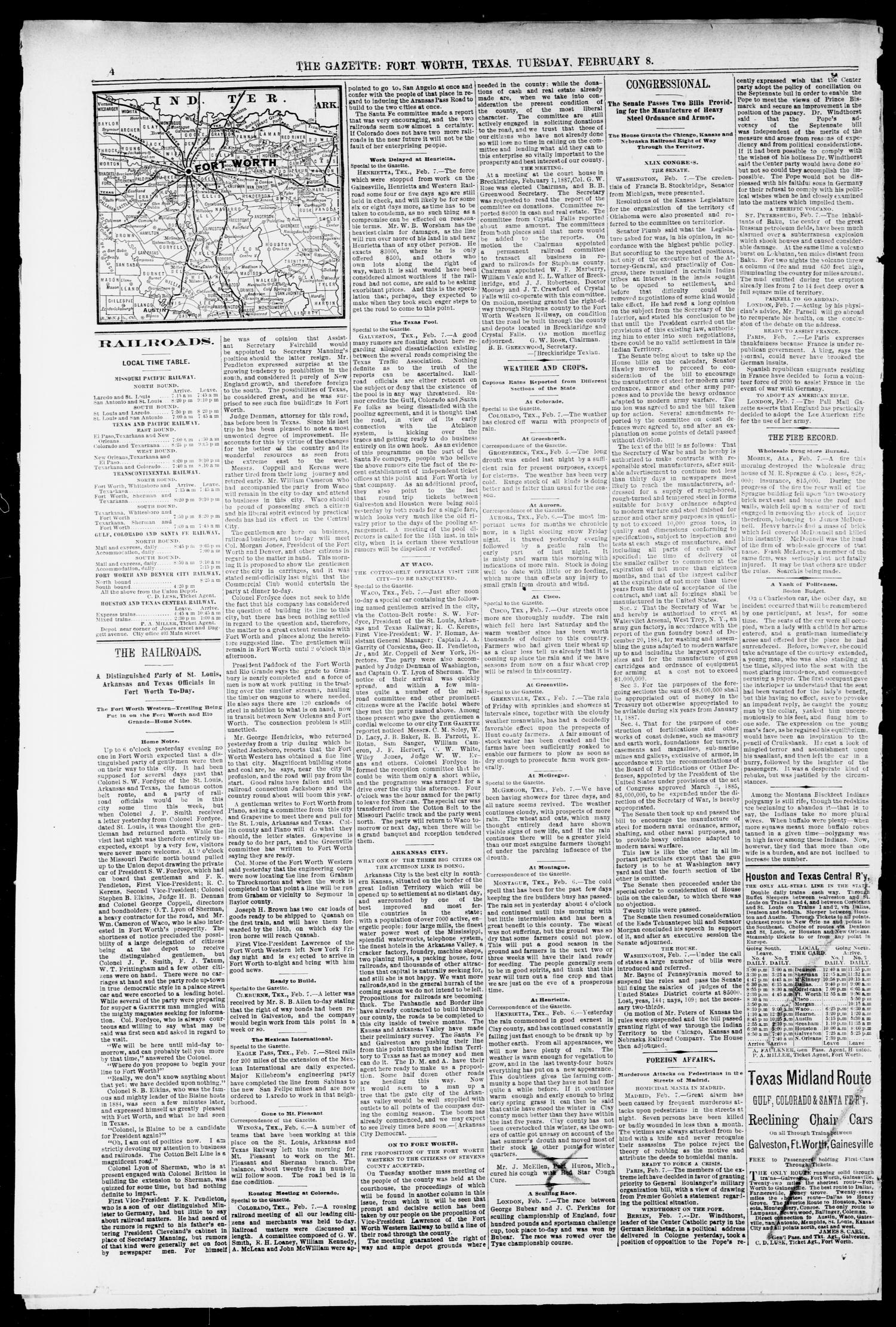 Fort Worth Daily Gazette. (Fort Worth, Tex.), Vol. 12, No. 193, Ed. 1, Tuesday, February 8, 1887                                                                                                      [Sequence #]: 4 of 8