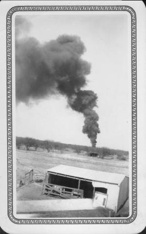 Primary view of object titled '[Gas company burning waste oil from Pit]'.