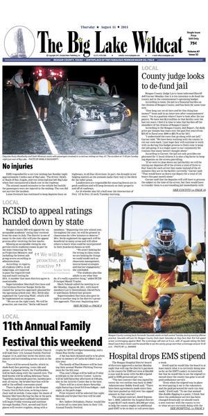The Big Lake Wildcat (Big Lake, Tex.), Vol. 87, No. 32, Ed. 1 Thursday, August 11, 2011