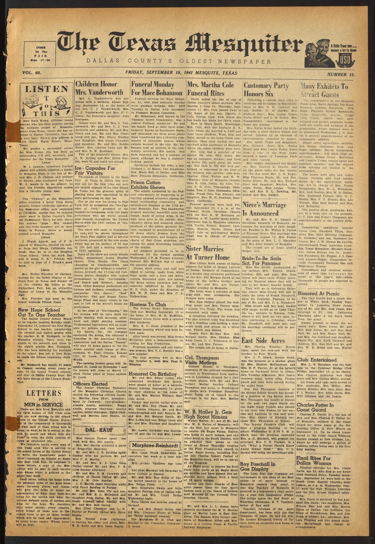 The Texas Mesquiter (Mesquite, Tex.), Vol. 60, No. 15, Ed. 1 Friday, September 19, 1941                                                                                                      [Sequence #]: 1 of 6