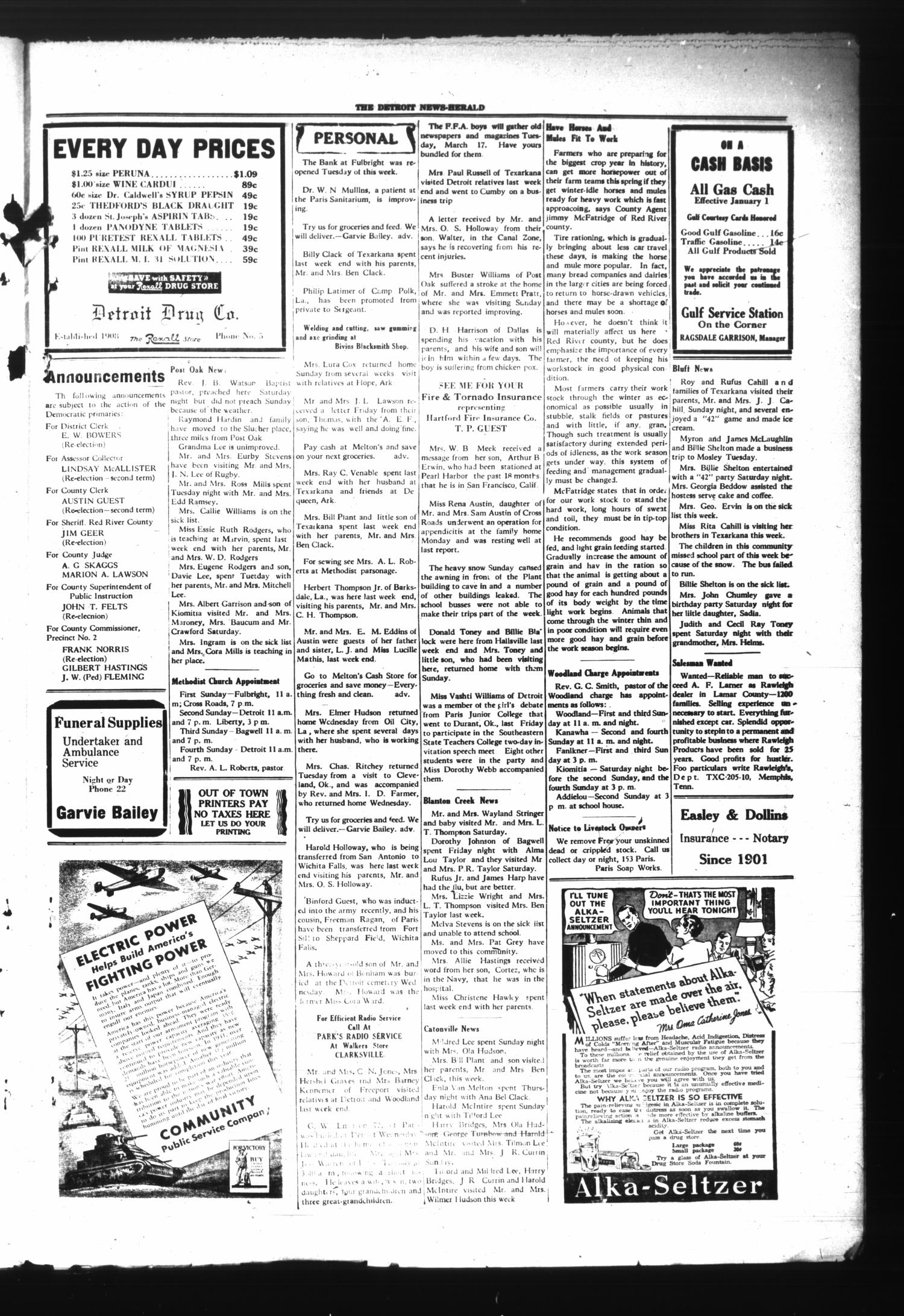 The Detroit News-Herald (Detroit, Tex.), Vol. 14, No. 49, Ed. 1 Thursday, March 5, 1942                                                                                                      [Sequence #]: 3 of 4