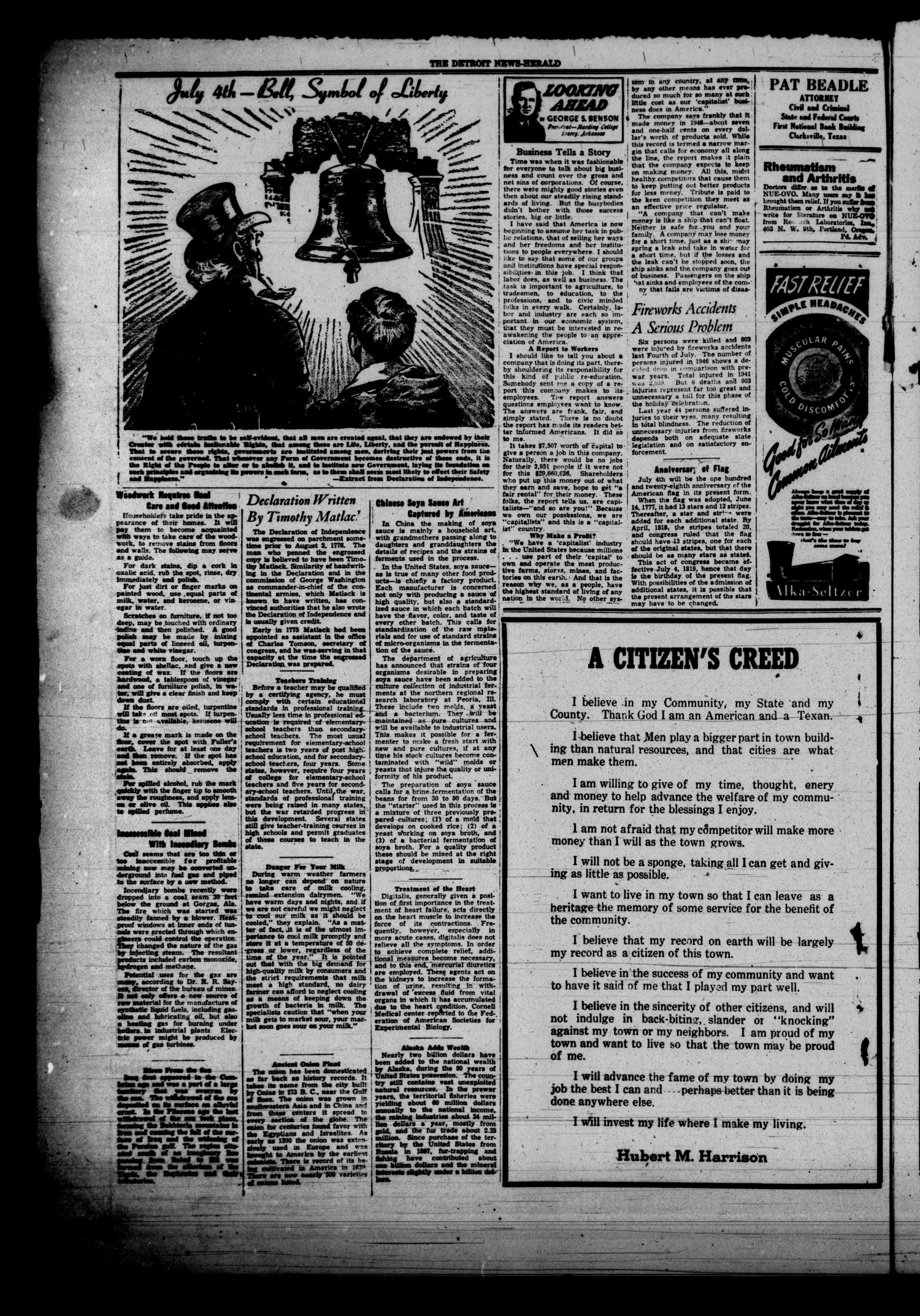 The Detroit News-Herald (Detroit, Tex.), Vol. 19, No. 14, Ed. 1 Thursday, July 3, 1947                                                                                                      [Sequence #]: 4 of 4