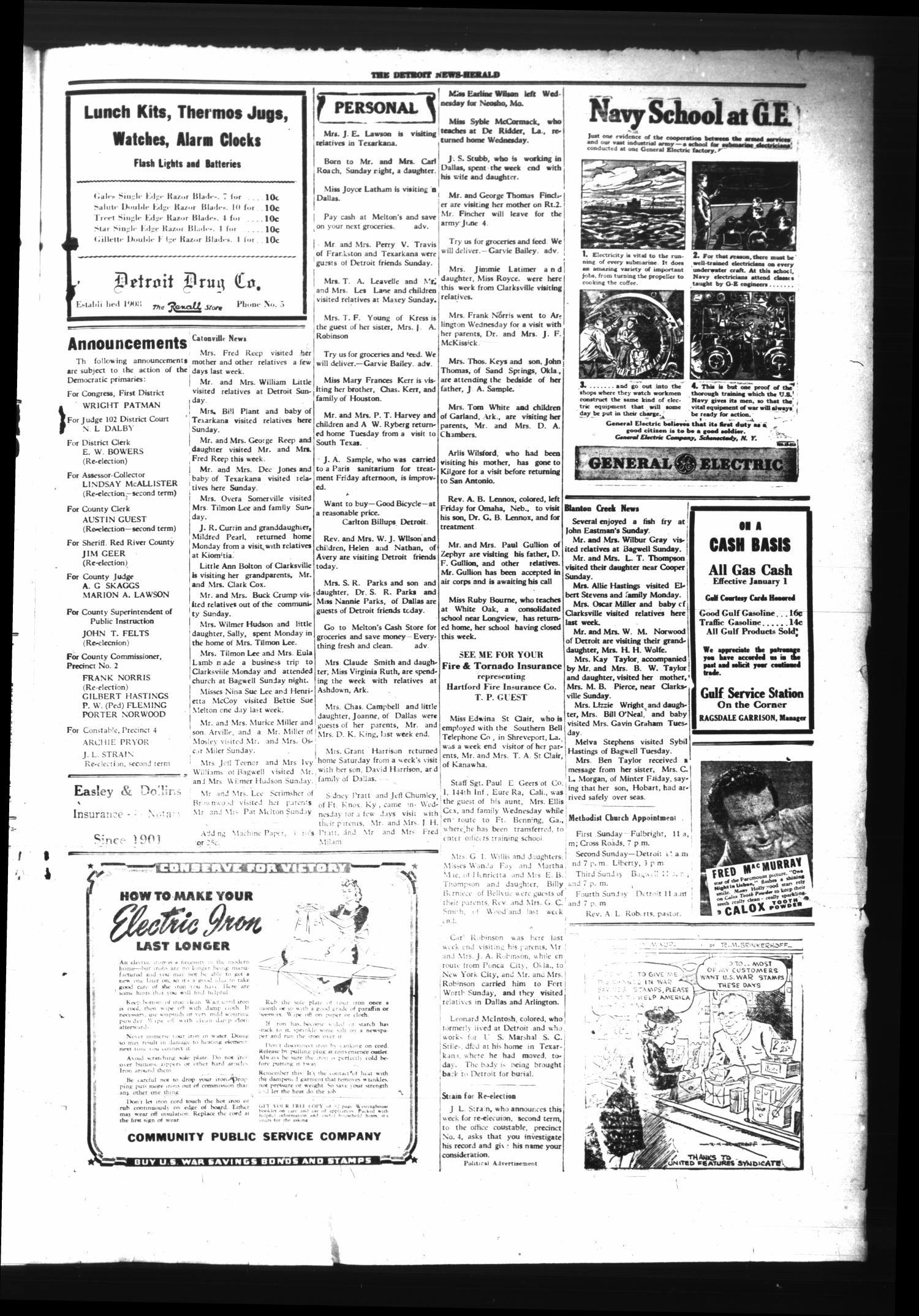 The Detroit News-Herald (Detroit, Tex.), Vol. 15, No. 9, Ed. 1 Thursday, May 28, 1942                                                                                                      [Sequence #]: 3 of 4