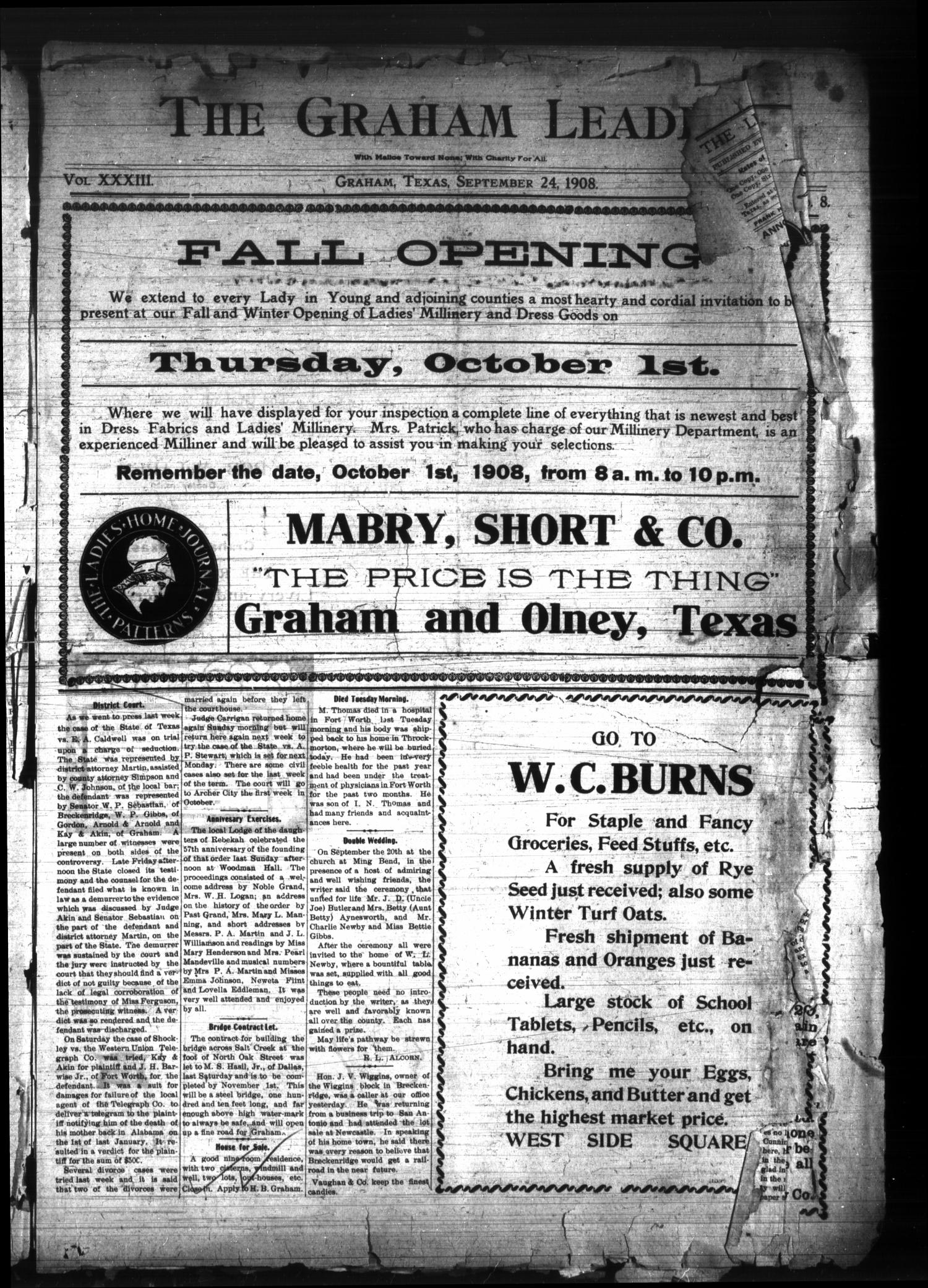 The Graham Leader. (Graham, Tex.), Vol. 33, No. [7], Ed. 1 Thursday, September 24, 1908                                                                                                      [Sequence #]: 1 of 8