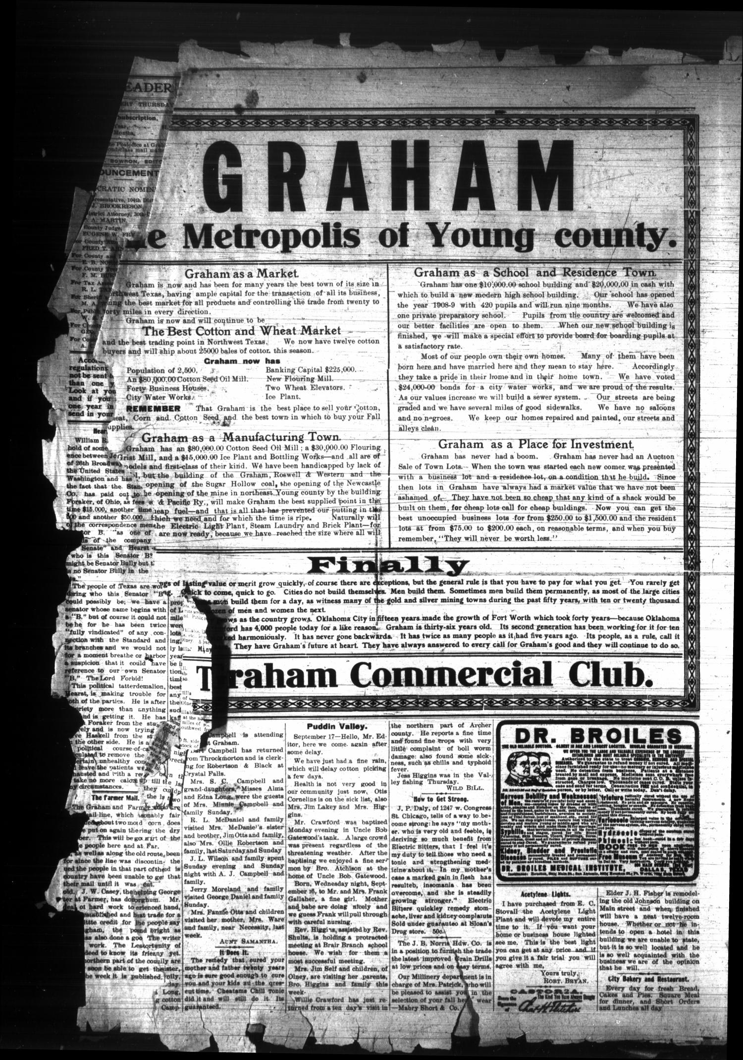 The Graham Leader. (Graham, Tex.), Vol. 33, No. [7], Ed. 1 Thursday, September 24, 1908                                                                                                      [Sequence #]: 4 of 8