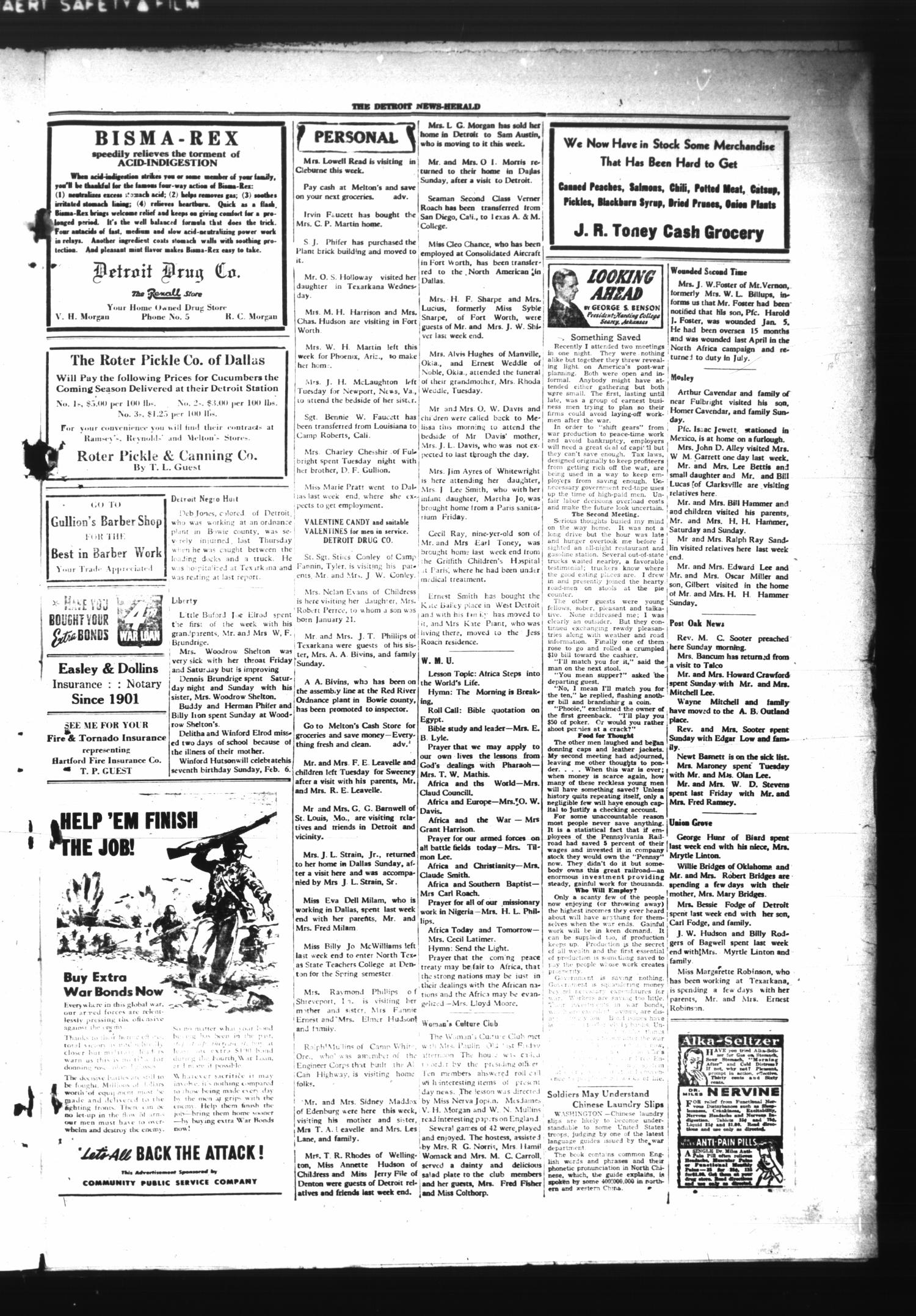The Detroit News-Herald (Detroit, Tex.), Vol. 16, No. 48, Ed. 1 Thursday, February 3, 1944                                                                                                      [Sequence #]: 3 of 4