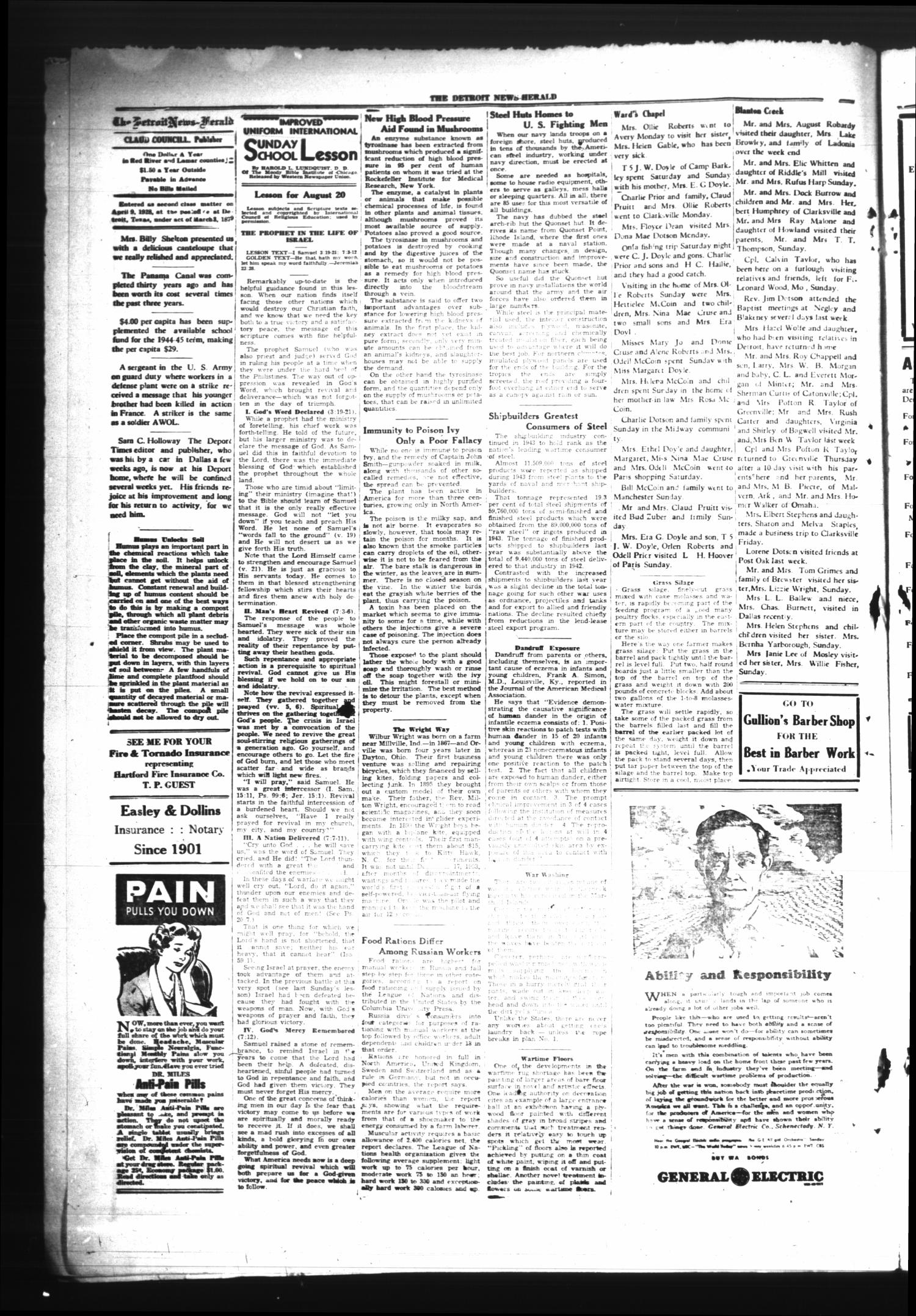 The Detroit News-Herald (Detroit, Tex.), Vol. 17, No. 20, Ed. 1 Thursday, August 17, 1944                                                                                                      [Sequence #]: 2 of 4