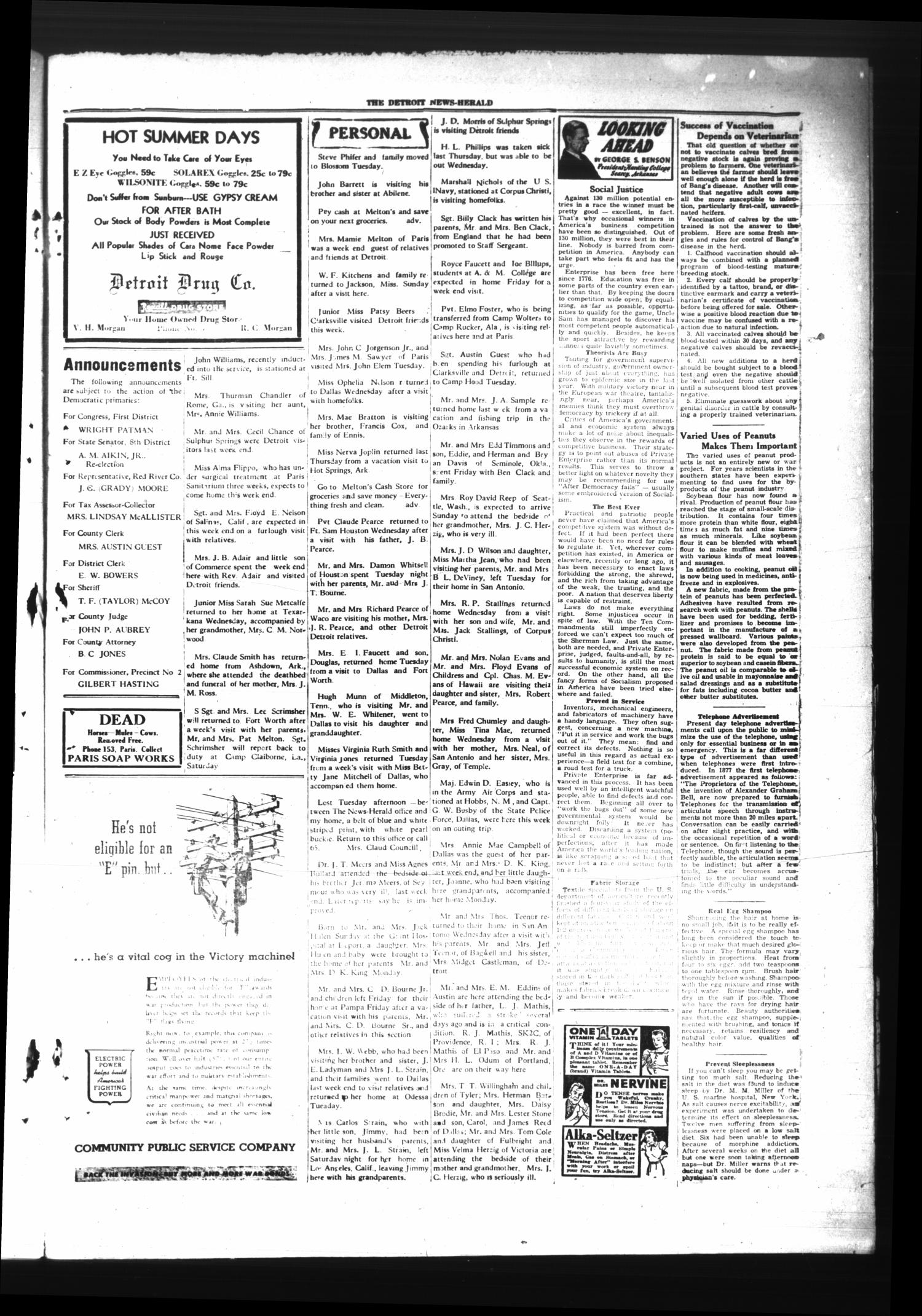 The Detroit News-Herald (Detroit, Tex.), Vol. 17, No. 20, Ed. 1 Thursday, August 17, 1944                                                                                                      [Sequence #]: 3 of 4