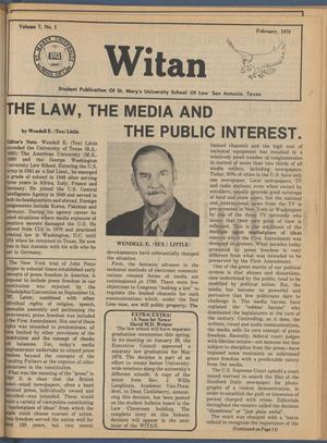 Primary view of object titled 'Witan (San Antonio, Tex.), Vol. 7, No. 1, Ed. 1 Thursday, February 1, 1979'.