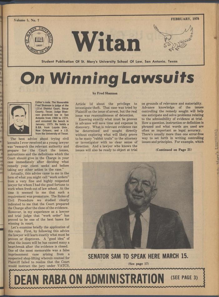 Witan (San Antonio, Tex ), Vol  5, No  7, Ed  1 Wednesday, February