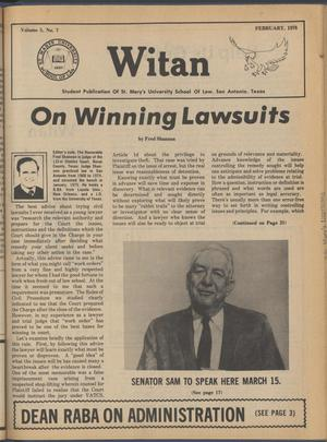 Primary view of object titled 'Witan (San Antonio, Tex.), Vol. 5, No. 7, Ed. 1 Wednesday, February 1, 1978'.
