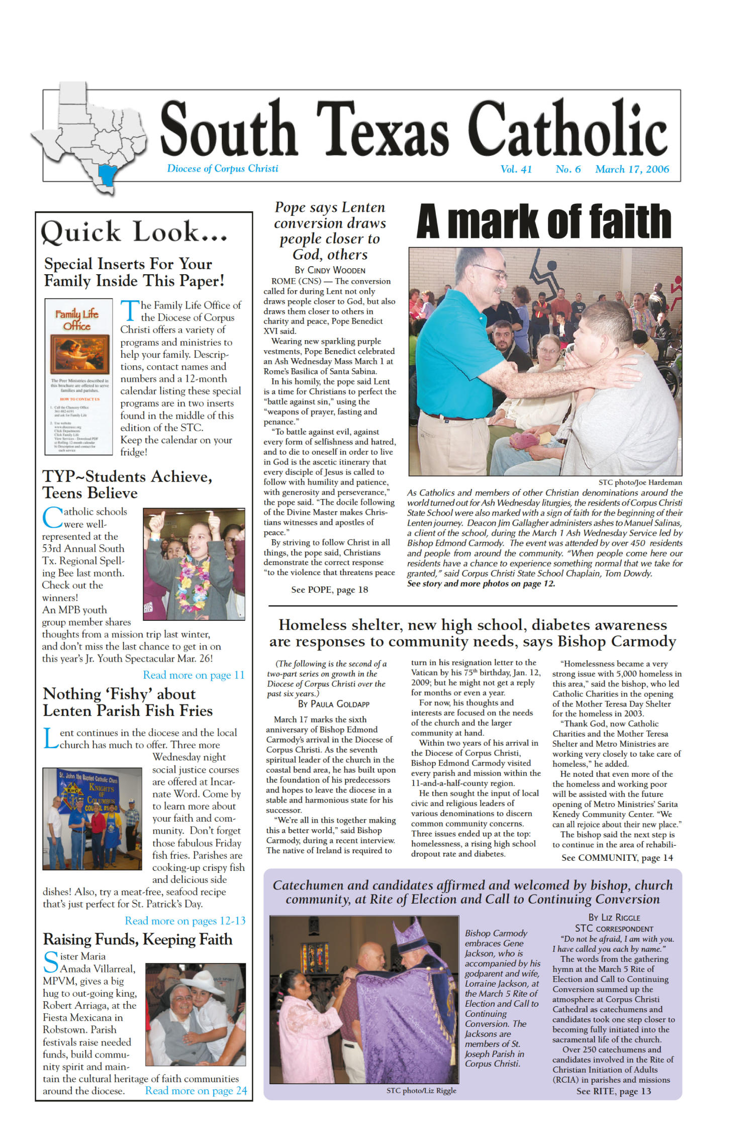 South Texas Catholic (Corpus Christi, Tex.), Vol. 41, No. 6, Ed. 1 Friday, March 17, 2006                                                                                                      [Sequence #]: 1 of 24