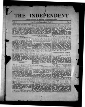 Primary view of object titled 'The Independent (Fort Worth, Tex.), Vol. 2, No. 47, Ed. 1 Saturday, July 29, 1911'.
