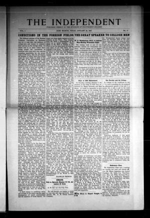 Primary view of object titled 'The Independent (Fort Worth, Tex.), Vol. 1, No. 17, Ed. 1 Saturday, January 22, 1910'.