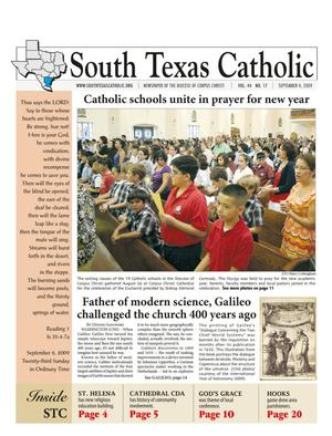 Primary view of object titled 'South Texas Catholic (Corpus Christi, Tex.), Vol. 44, No. 17, Ed. 1 Friday, September 4, 2009'.