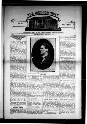 Primary view of object titled 'The Independent (Fort Worth, Tex.), Vol. 2, No. 2, Ed. 1 Saturday, September 10, 1910'.