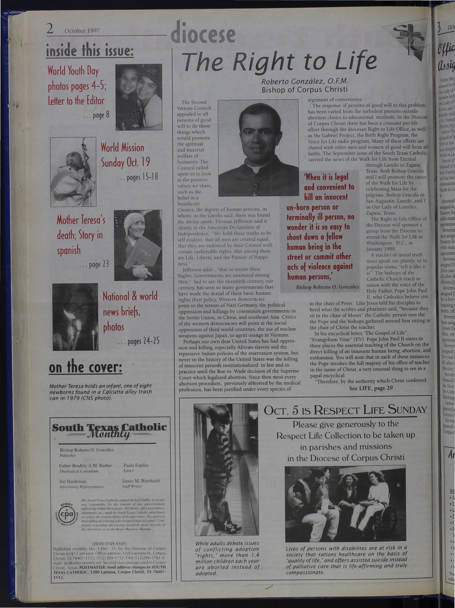South Texas Catholic Monthly (Corpus Christi, Tex.), Vol. 32, No. 16, Ed. 1 Wednesday, October 1, 1997                                                                                                      [Sequence #]: 2 of 32