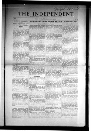 Primary view of object titled 'The Independent (Fort Worth, Tex.), Vol. 1, No. 18, Ed. 1 Saturday, January 29, 1910'.