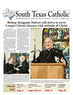 Primary view of object titled 'South Texas Catholic (Corpus Christi, Tex.), Vol. 45, No. 2, Ed. 1 Friday, January 22, 2010'.