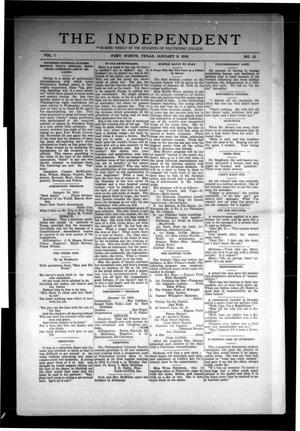Primary view of object titled 'The Independent (Fort Worth, Tex.), Vol. 1, No. 15, Ed. 1 Saturday, January 8, 1910'.