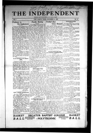 Primary view of object titled 'The Independent (Fort Worth, Tex.), Vol. 1, No. 13, Ed. 1 Saturday, December 11, 1909'.