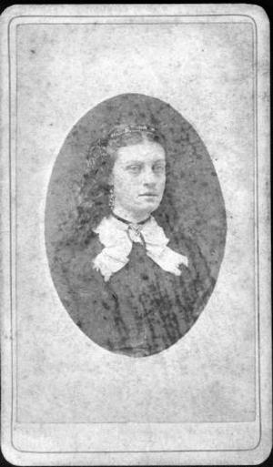 Primary view of object titled '[Bust photograph of Nannie Haggard wearing a dark dress]'.
