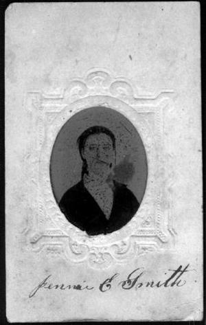 Primary view of object titled '[Jennie E. Smith wearing a dark jacket]'.