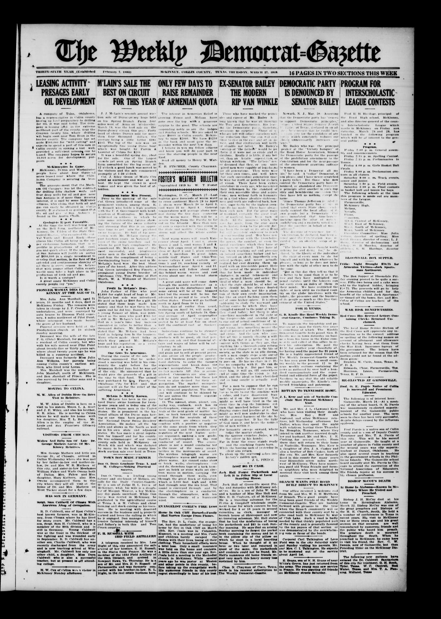 The Weekly Democrat-Gazette (McKinney, Tex.), Vol. 36, Ed. 1 Thursday, March 27, 1919                                                                                                      [Sequence #]: 1 of 16