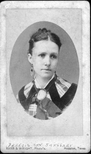 Primary view of object titled '[Bust photograph of Francis Ann Sansbury wearing a plaid dress]'.
