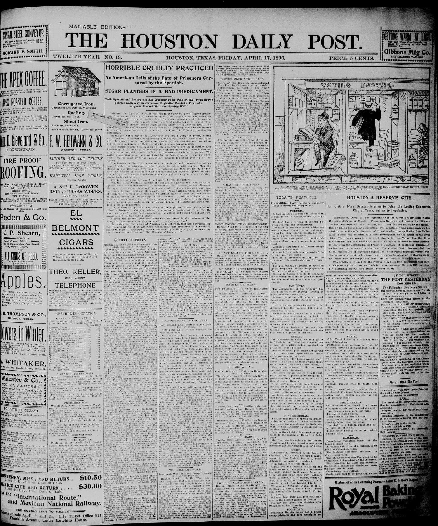 The Houston Daily Post (Houston, Tex.), Vol. TWELFTH YEAR, No. 13, Ed. 1, Friday, April 17, 1896                                                                                                      [Sequence #]: 1 of 8