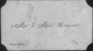 "Primary view of object titled '[""Mr. & Mrs. Hensan"" identification card found in photo album]'."