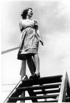 Primary view of object titled '[Mary Jones Prowell on outdoor stairs]'.
