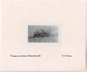 Primary view of object titled '[T&P Train on a Bridge]'.