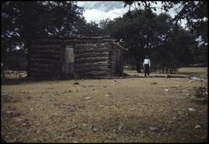 Primary view of object titled '[Log Cabin in the Texas Hill Country]'.