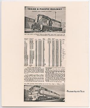 Primary view of object titled '[T&P Locomotive Roster]'.