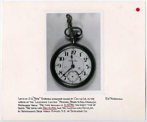 Primary view of object titled '[Pocket Watch of an Engineer Killed in Train Wreck]'.