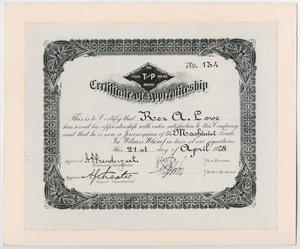 Primary view of object titled '[Certificate of Apprenticeship for Rex A. Lowe]'.